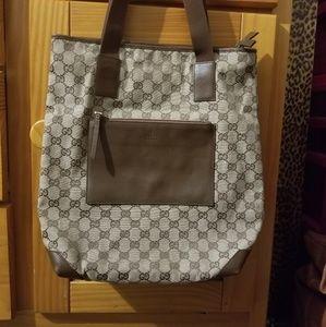 "Gucci Canvas & Leather Tote 13.5""Lx14""H"